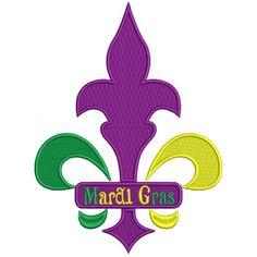 Mardi Gras Sign Fleur de lis Filled Machine Embroidery Design Digitized Pattern