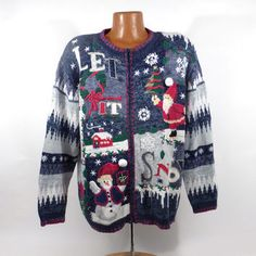 Ugly Christmas Sweater Vintage Tacky Holiday Party Women's Cardigan Women's size 22 -24 Plus