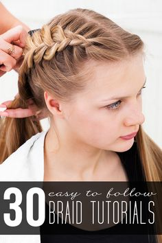 From the Elsa braid to gorgeous crown braids, there is a hair tutorial for Easy Braid Tutorials! From the Elsa braid to gorgeous crown braids, there is a hair tutorial for everyone! Braids Tutorial Easy, Braid Tutorials, Hairstyle Tutorials, Pretty Hairstyles, Braided Hairstyles, Wedding Hairstyles, Updo Hairstyle, Wedding Updo, Braided Updo