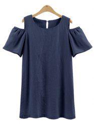 Open Shoulder Back Buttoned Mini Dress