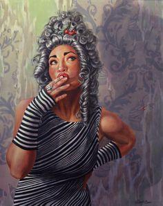 """Let Them Eat Cake ... ?"" - Angela Hardy, acrylic on wood panel {contemporary figurative artist female wig standing african-american black woman art painting} angelahardyart.com"