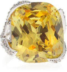 CZ by Kenneth Jay Lane Cushion-Cut Canary Cubic Zirconia Ring on shopstyle.com