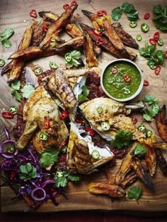 Piri piri chicken with sweet potato wedges. Crisp, spicy roast chicken, served with piri piri sauce, jalapeño salsa and sweet potato wedges – delicious! Spicy Roast Chicken, Roast Chicken Recipes, Baked Chicken, Roast Chicken And Chips, Stuffed Chicken, Rotisserie Chicken, Roasted Chicken, Shrimp Recipes, Appetizer Recipes