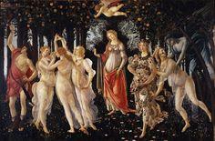 48 Sandro Botticelli: La Primavera. c. 1478. Tempera su tavola, 203x314. Firenze, Galleria degli Uffizzi. Also known as Spring or Allegory of Spring. The work was commissioned by a member of the Medici family.