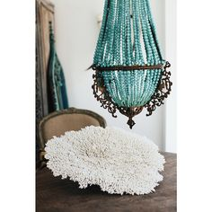Antique frame / hand-beaded chandelier (semi precious amazonite beading), coral