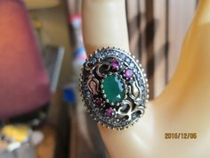 Vintage Gorgeous  Art Deco 1.50ctw Ruby & Emerald Two Tone 14KT Gold/925 Sterling Adjustable  Ring Sz 4-9, Wt. 9.8 Grams