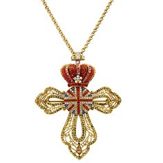 Crystal Union Jack Cross With Red Crown Brooch/Necklace .... so cute!