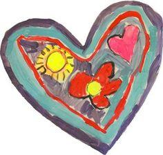 Valentines heart art for kindergarten. My kindergarteners had a blast painting these.