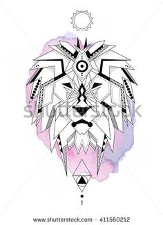 stock-vector-geometric-lion-on-watercolor-lion-is-considered-by-many ...