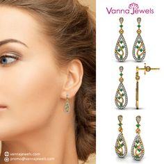 Certified Diamond Designer Women's Dangle Earrings Solid Yellow Gold Emerald Gemstone Jewelry