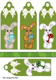 EASTER BUNNY BOOKMARKS WITH BOWS on Craftsuprint designed by Nick Bowley - EASTER BUNNY BOOKMARKS WITH BOWS, Makes four cute cards, print extra to layer - Now available for download!