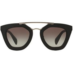 6cbdcea7a593 Prada Pr 14ss 49 Black Square Sunglasses (2 315 PLN) ❤ liked on Polyvore