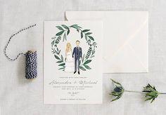 Illustration of a couple always look sooo cute on wedding invitations!