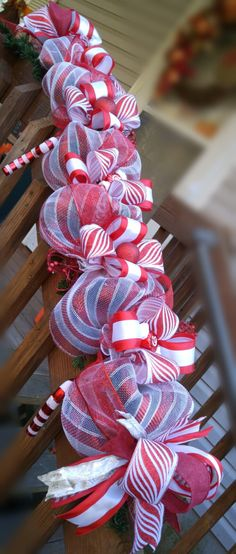 Candy Cane Christmas garland.Mantle decor.Christmas decorations,door decor.Light up stairway garland.Candy Cane ornaments.FREE GIFT! by kyprims on Etsy