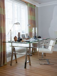 Home Office Glass Desk work area with simple glass desk | decor - california homes