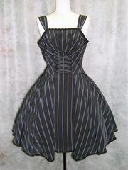 Tuck Flare Stripe Jumper Black x Blue. See more at http://www.cdjapan.co.jp/apparel/mmm.html #gothic lolita #lolita fashion