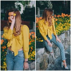 Get this look: http://lb.nu/look/8684691  More looks by Cristina Gheiceanu: http://lb.nu/cristinagheiceanu  Items in this look:  Romwe Blouse   #casual #elegant #romantic #bow #blouse #yellow