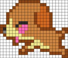 Kawaii Puppy Perler Bead Pattern / Bead Sprite