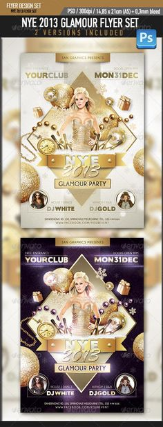 NYE 2013 Glamour Flyer Set Simple and organized PSD files in Layers 300 DPI  Easy to use CMYK Print Ready with Bleed Margins 0.3mm Dimensions 14,85x21cm (A5 size))(Please don¡¯t forget to rate this item if you like it, thanks!)PLEASE NOTE THAT GIRL IMAGE IS NOT INCLUDED!!!Fonts:Champagne & Limousineshttp://www.dafont.com/champagne-limousine