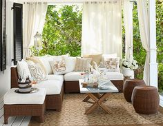 A relaxing stage is set when small and large prints are mixed in one neutral color. Potterybarn
