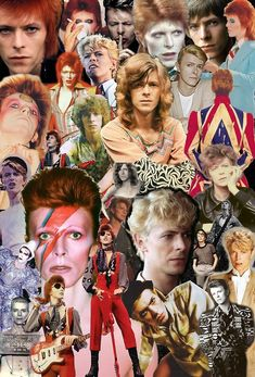 A collage that gives you (and me) an idea of all the genres and looks Bowie has ripped  through over the years.