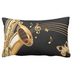 De nota's van de saxofoon lumbar kussen