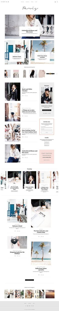 'Paris' is Responsive Wordpress Website Magazine Theme Paris Fashion & Lifestyle Bloggers. It features different Homepage Layouts, Single Post Layout, Instagram Gallery, Shopping Page Widget, About Widget, supports Mailchimp, Subscribe Widget and many more. Check out our Pinterest for more beautiful Wordpress Themes.