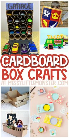 Cardboard box crafts for kids Cardboard Box Boats, Cardboard Crafts, Paper Crafts, Cardboard Castle, Easy Crafts For Kids, Craft Activities For Kids, Toddler Crafts, Activity Ideas, Cool Art Projects