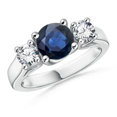 Angara Three Stone Blue Sapphire and Diamond Cathedral Ring in Platinum pUvf2t
