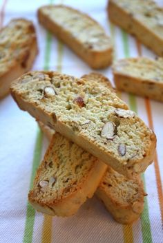 Almond Biscotti - Start out with a little hotter oven for altitude, then turn down after 5 minutes.  Also cool  little longer for my hot kitchen, and slice thinner than you think!