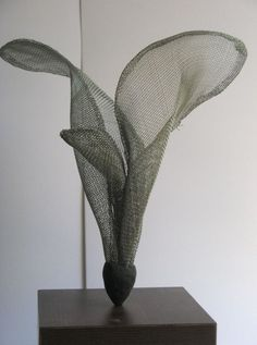 Wire mesh Floral, Fruit and Plantlife sculpture by artist Raghavendra Hedge titled: 'Organic form 3 (abstract Chicken Wire Mesh Exotic Flower statuettes)' Chicken Wire Art, Chicken Wire Sculpture, Wire Art Sculpture, Sculpture Lessons, Abstract Sculpture, Sculpture Garden, Abstract Art, 3d Mesh, Wire Mesh