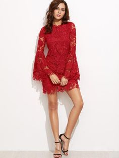 cd88ad51c53 Online shopping for Red Embroidered Lace Overlay Bell Sleeve Dress from a  great selection of women s fashion clothing   more at MakeMeChic.