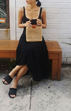 Black summer sundress with sweet straw tote Source by pureheartbadass bag outfit 50 Fashion, Womens Fashion, Fashion Bags, Sundress Outfit, Moda Casual, Vogue, Straw Tote, Mode Style, 50 Style