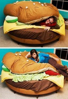 A fun idea for a bed in a kids room. A fun idea for a bed in a kids room. A fun idea for a bed in a kids room. Hamburger Bed, Cool Inventions, Take A Nap, Cool Beds, Bed Furniture, My New Room, Home Projects, I Laughed, Bean Bag Chair