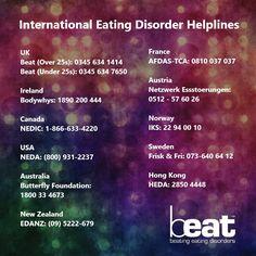 international eating disorders helplines