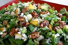 Roquefort Pear Salad - The Girl Who Ate Everything. Would reduce the roquefort to oz and serve immediately, it was pretty tasty though! Great Recipes, Favorite Recipes, Family Recipes, Pear Salad, Watercress Salad, Spinach Salad, Cooking Recipes, Healthy Recipes, Summer Salads