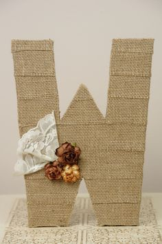 Large Burlap wrapped letter W - wedding decoration monogram for cake topper, table centerpiece.