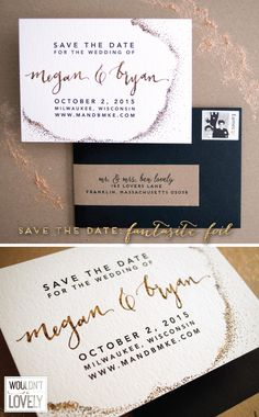 industrial chic wedding save the date, white, gold, black and kraft with patterned gold foil and clean modern design by Wouldn't it be Lovely