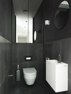 Dramatic powder room. Looks like mirrored cupboards to ceiling above toilet suite with Inwall cistern: