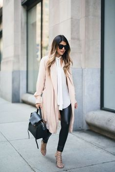 Leather leggings, blush coat. Perfect outfit to transition from winter to early spring!