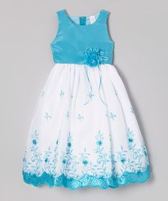 Another great find on #zulily! Turquoise & White Floral Embroidered Dress - Toddler & Girls #zulilyfinds
