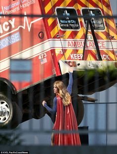 Saving the day! Melissa Benoist hoisted an ambulance into the air while filming Supergirl in Los Angeles on Friday