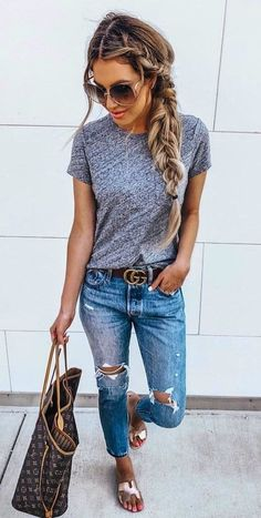 Simple outfits spring school for women 38 summer jean outfits, casual summer outfits women, Casual Summer Outfits, Simple Outfits, Trendy Outfits, Fall Outfits, Cute Outfits, Fashion Outfits, Women's Clothing Fashion, Jean Outfits, Spring Outfits Women Over 30
