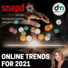 snapd DUFFERIN THE ONLINE CORNER dufferinmedia ONLINE TRENDS FOR 2021' #onlinetrends #trends #2021 www.sarahclarke.biz Facebook Marketing, Online Marketing, Social Media Marketing, Digital Marketing, Pay Per Click Advertising, Productivity Hacks, January 20, Time Management Tips, Influencer Marketing