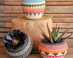 Ceramic planter pottery Navajo inspiration Carved sgraffito Vase home deco GEO Aztec Geometric Wheel thrown vase - Edit Listing - Etsy