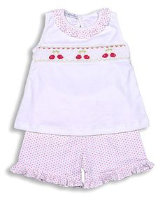 Love this White & Pink Cherries Smocked Pima Top & Bloomers - Infant & Toddler on #zulily! #zulilyfinds