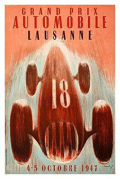 1947 Lausanne Grand Prix Racing Poster by Retro Graphics,Switzerland,Lausanne grand prix,formula one,racing poster,ephemera,retro,vintage race car,motor sports,automotive art,poster art,1947,motor race,racing circuit,vintage grand prix,antique race car