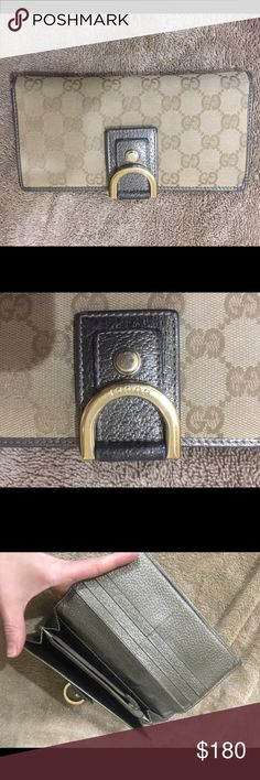 Gucci monogram abbey continental wallet Gucci wallet with monogram and silver lining. Inside also silver as shown. Gently worn, edges and front show some wear but still plenty of life left. No trades, authentic. Gucci Bags Wallets