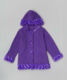 Look what I found on #zulily! Purple Fleece Hooded Coat - Toddler & Girls #zulilyfinds