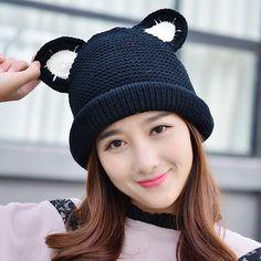 dd44fc3102d Cartoon cat beanie hat with ears for girls cheap winter knit hats